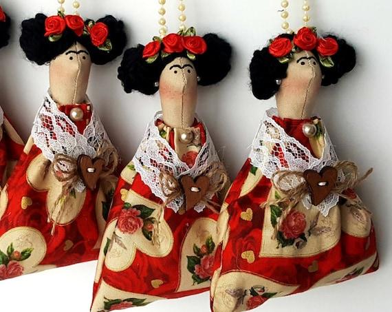 Mexican doll  ornament Frida key chain fabric ornament mexican doll art handmade mexican artist painter