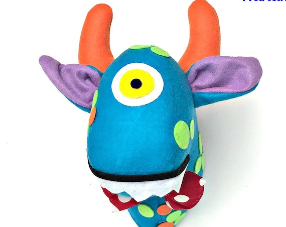 Monster head wall decor adopt a monster party decoration boys room monster decor animal head deco monster soft  sculpture horn felt monster