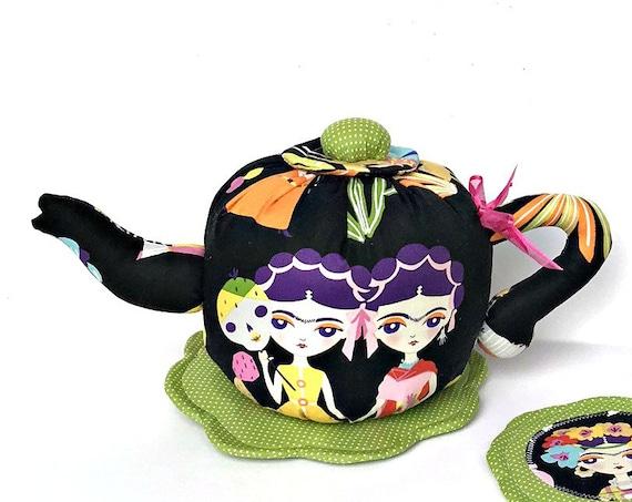 Fabric Tea pot Frida Kahlo kitchen acessories fabric tea pot set handmade gift for girls tea set Textile teapot soft toys  tea party decor