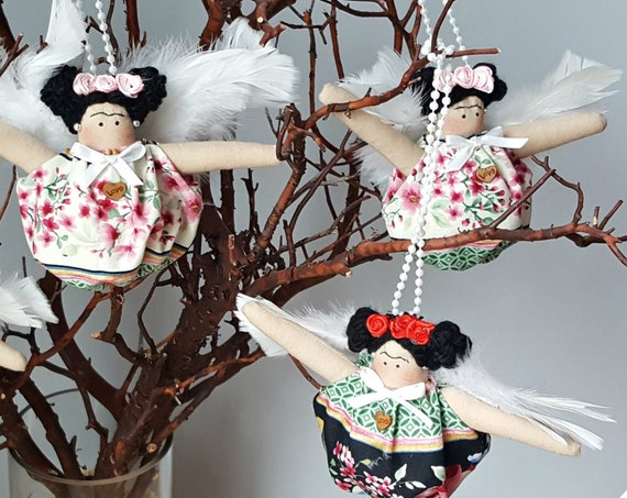 Mexican doll Kahlo ornament clothing  fabric ornament mexican doll art handmade Diego Riviera mexican artist painter