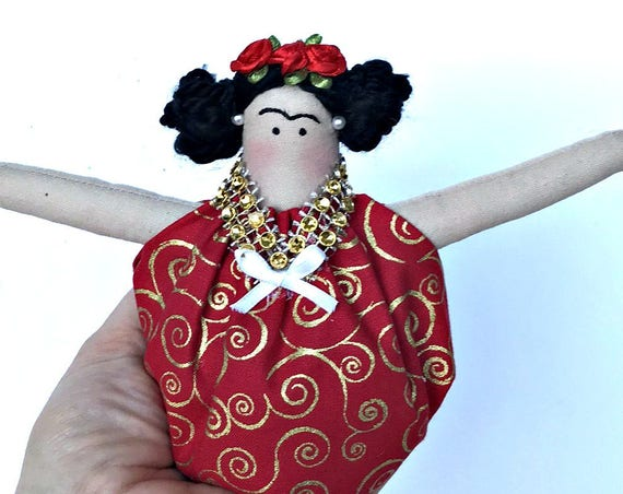 Mexican doll Valentines  gift ornament clothing fabric ornament mexican doll art handmade  mexican artist painter
