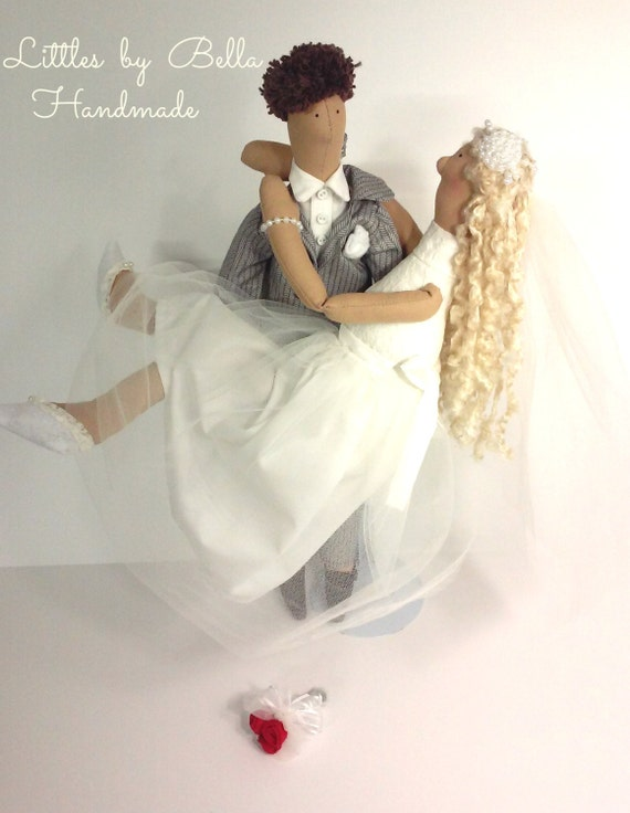 Textile doll Brides doll tilda doll special wedding gift doll  wedding doll romantic doll groom gift  doll girl friend wedding cake topper