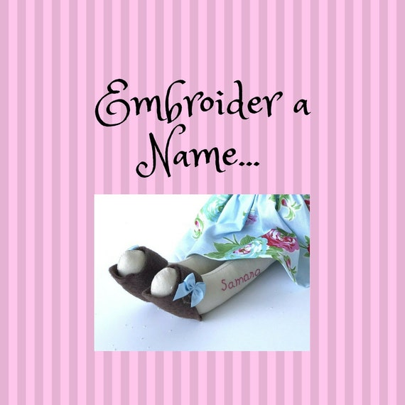 Embroider a name on your doll.