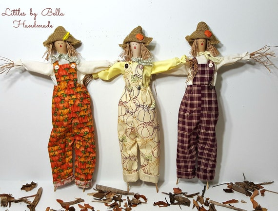 Textile doll handmade scare crow fall decoration folk art scare crow autumn dolls farm decor littles by Bella tilda scarecrow harvest fabric