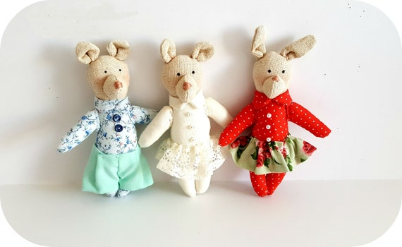 Set of 3 Tilda friends baby friendly animals doll house child  soft sculpture hare bunny handmade dolls gift for child baby room decor
