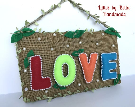 Love felt names love  Sign door hanger  valentines gift ideas home living decoration love felt names love room decor littles by Bella