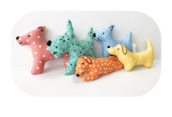 Set of 5 little plush puppies baby friendly animals doll house child soft sculpture  dog toys handmade dolls gift for child baby room decor
