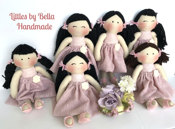 Baby first doll flower girls gift bridesmaid gifts wedding favors 6 or more wedding  bridesmaid blush fabric classic dolls