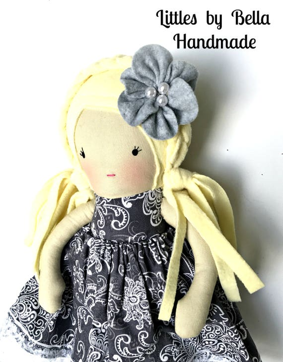 Children friendly soft doll Embroidered soft doll Blonde dolls girls best friend  doll  soft sculpture doll handmade cloth doll gray dress