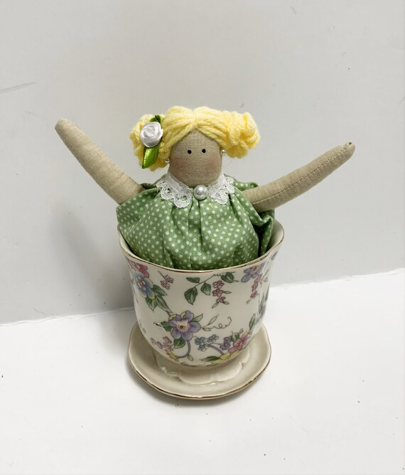 Tilda jar doll small christmas dolls girls tea party ideas tilda cup cake dolls tea party gifts tea cup  dolls handmade gifts doll