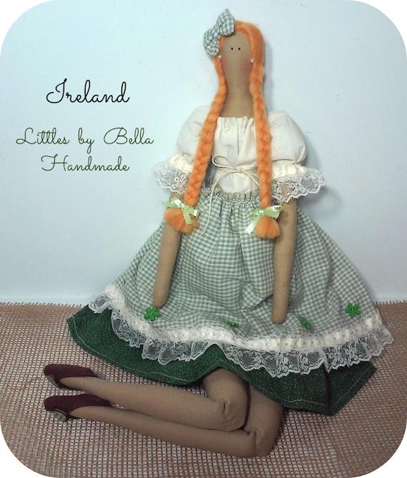 handmade doll Ireland doll internacional dolls rga doll Irish doll Ireland culture doll red hair doll Green doll Irish gift irish people