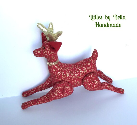 Christmas Reindeer gold horn doll gold decoration tilda reindeer red and gold valentine stuffed reindeer soft toy red ornaments