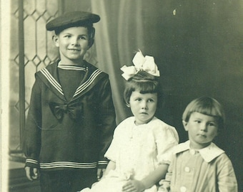Antique RPPC Children Sailor Suit Brothers Sister Boys Girl 1920s Portrait Sepia Photo Photograph Postcard