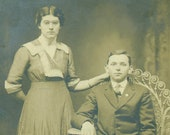 Teenage Husband and Wife Sitting in Wicker Chair RPPC Portrait Antique Real Photo Postcard Vintage Photograph Black White Photo