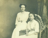 Beautiful Edwardian Sisters Sitting Wicker Chair RPPC Portrait Antique Real Photo Postcard Vintage Photograph Black White Photo