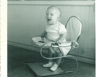 92038f070eb Happy Baby Standing in Jumper Seat Smile 50s Vintage Photograph Black White  Photo