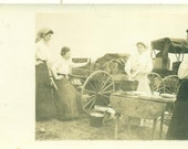 Women Washing Dishes Horse Buggy Wagon Cast Iron Pot Western Fun RPPC Real Photo Postcard Photograph Black White Photo