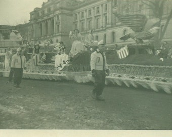 Minnesota 1940s Parade Float American Eagle Pretty Ladies Vintage Photo Black and White Photograph