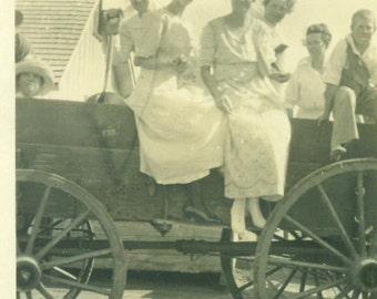Farm Women Sitting On a Wooden Wagon Horse Drawn Wheels Boy 1920s Antique Vintage Black White Photo Photograph