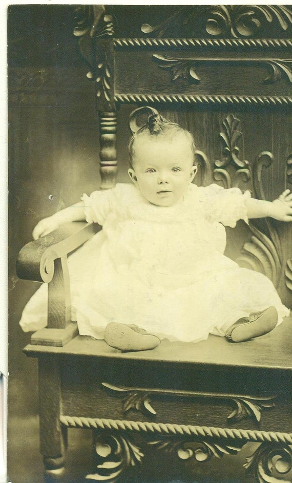 Antique RPPC Baby Sitting on Chair Picture Portrait Real Photo Postcard Photograph Black White Photo
