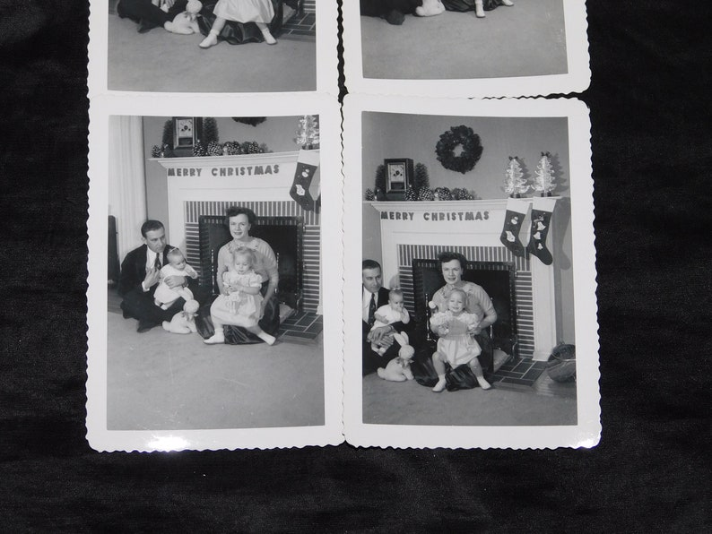 1950s 4 Attempts Family Christmas Photos With Baby Parents Fireplace Black White Photographs