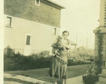 1920s Flapper Woman Holding Small Dog Outside 20s Vintage Photograph Black White Photo