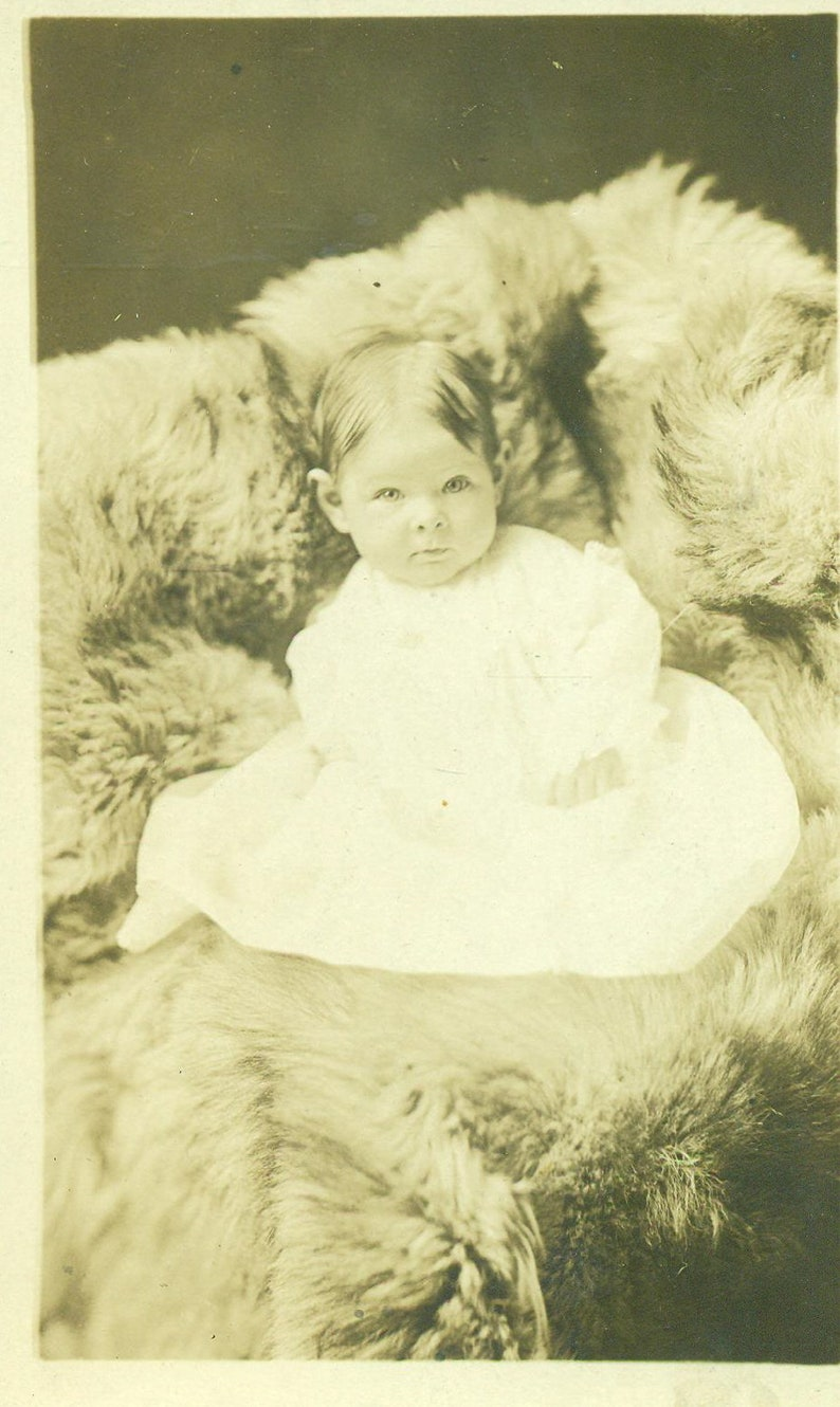 Antique RPPC Alice Baby Sitting on Fur Blanket Picture Portrait Real Photo Postcard Photograph Black White Photo