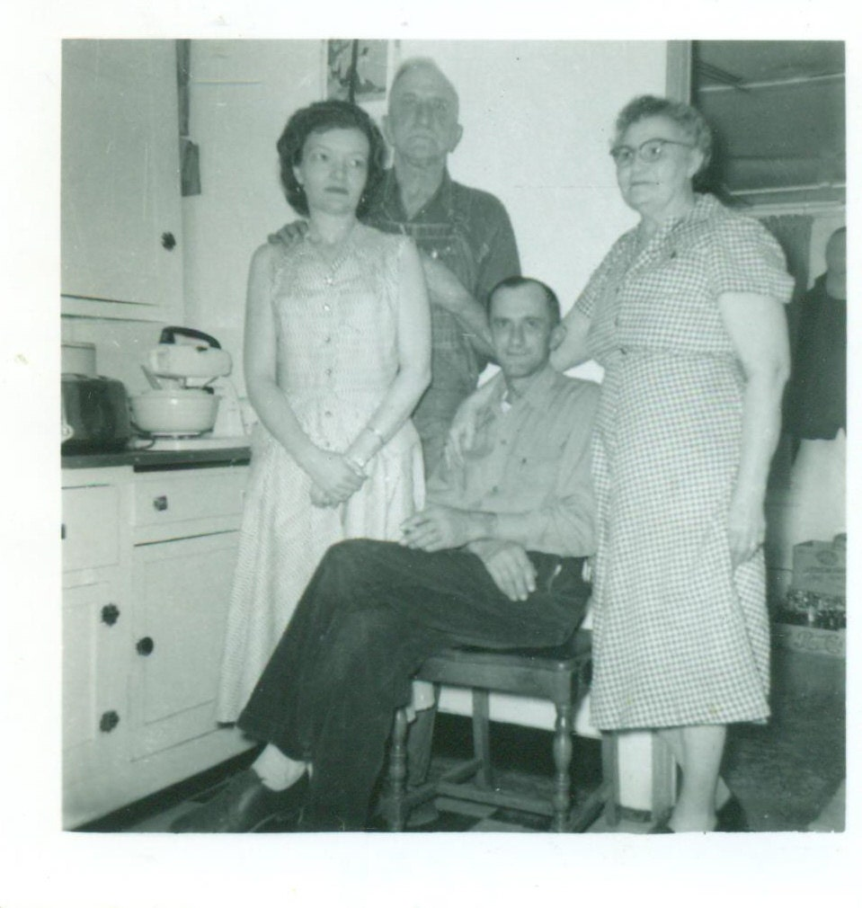 Tall Man Sits For Family Photo in 1950s Kitchen Husband Wife | Etsy