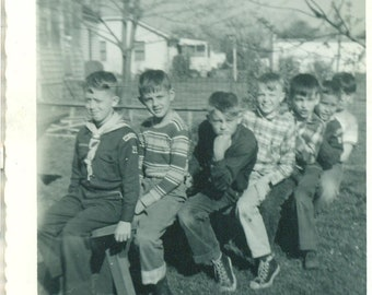 1950s Boy Scout Boys Sitting on a Bench Friends Falling Off 50s Vintage Photograph Black White Photo