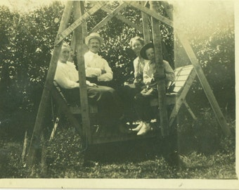 Family Sitting on a Wooden Swing Men Boy Mother Antique RPPC  Black and White Vintage Photo Photograph