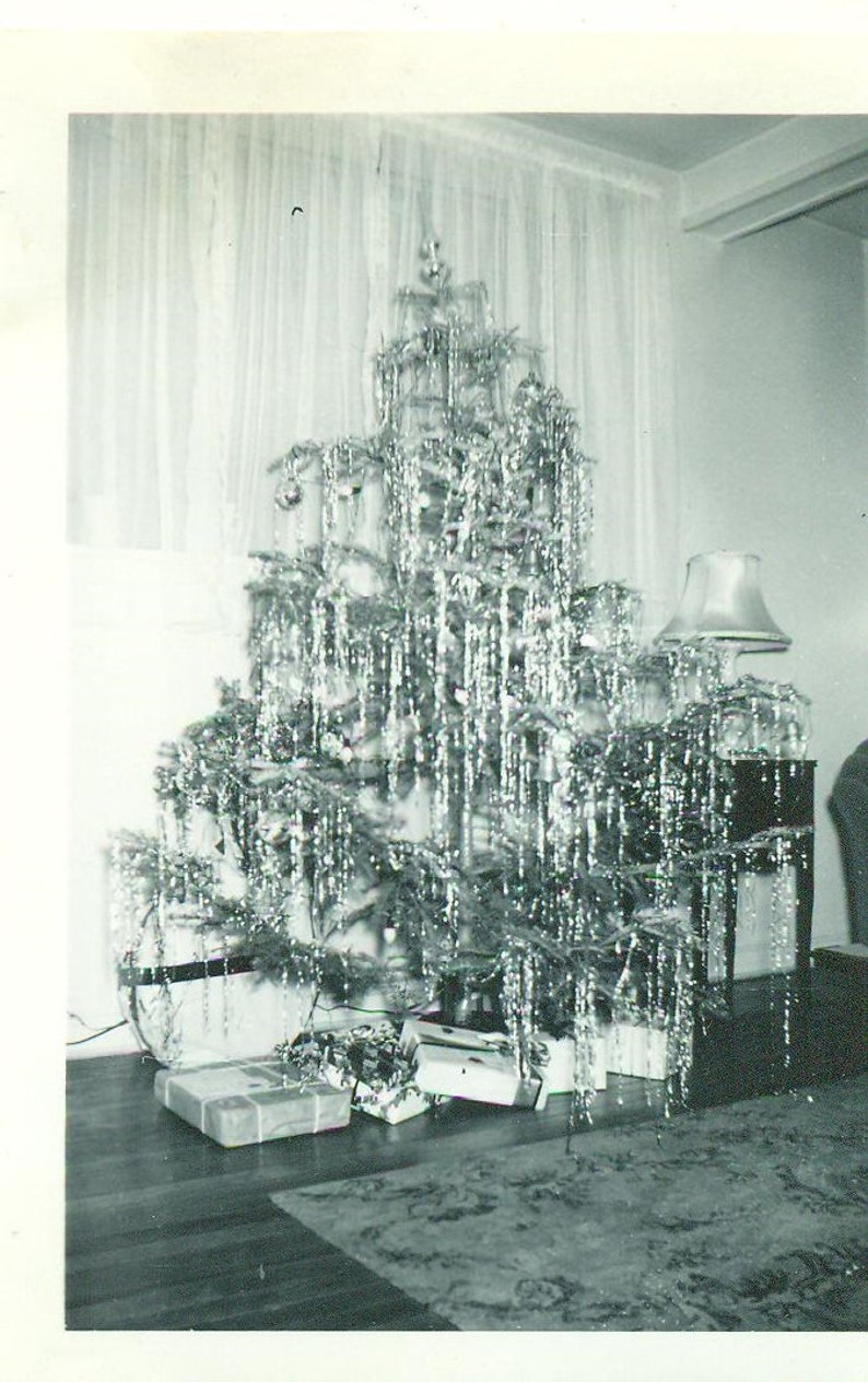 Ww2 Christmas Gifts.1940s Christmas Tree Tinsel Decorated Gifts Ww2 Era Holiday 1940s Vintage Photograph Black White Photo