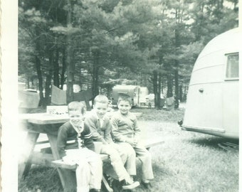 1950s Camping 3 Boys on a Picnic Bench Campground Trailer 50s Vintage Photograph Black White Photo