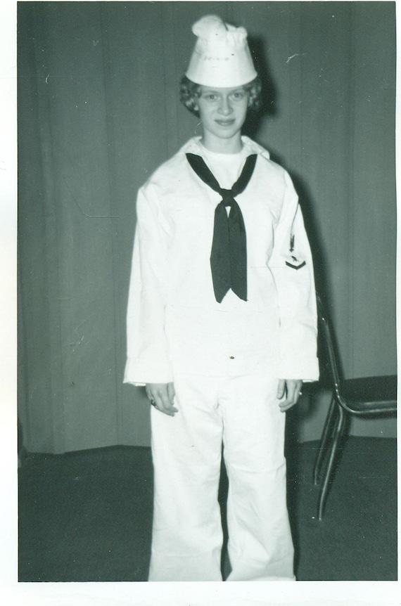 1940s Girl in Navy Sailor White Dress Uniform Costume WW2 Era Halloween Party Vintage Black and White Photo Photograph