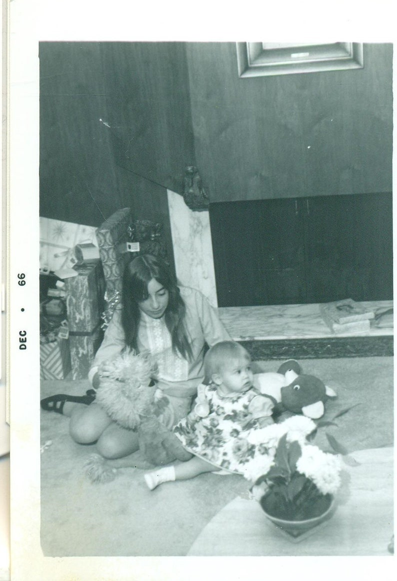 1966 Mod Mom In Mini Skirt Playing With Baby Girl Teddy Bear Toys 60s Photo Vintage Black White Photograph Picture