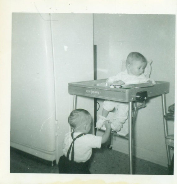 Fine Babies Playing High Chair Crawling Foot Baby Friends 1940S Vintage Black White Photo Photograph Caraccident5 Cool Chair Designs And Ideas Caraccident5Info
