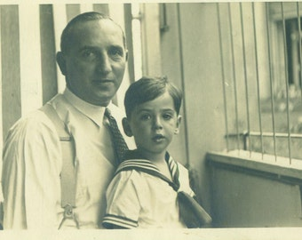 Father and Son in Sailor Suit Picture RPPC Real Photo Postcard Antique Vintage Black White Photo Photograph