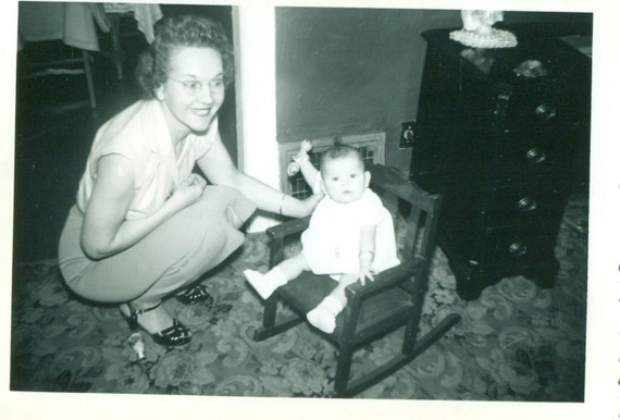 Brilliant Baby Girl Sitting In Rocking Chair Holding Rattle Mother Helping 1940S Vintage Black White Photo Photograph Pdpeps Interior Chair Design Pdpepsorg