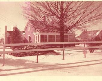 Home For Christmas House Outside Snow Christmas 1956 Kodacolor Print Vintage 50s Color Photo Photograph