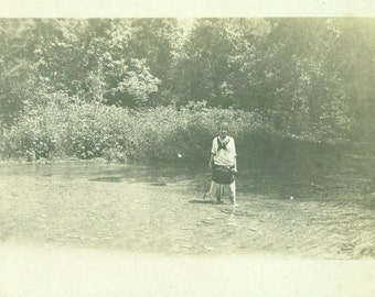 Wading in the Clear Stream Young Woman Sailor Dress Getting Wet Summer Swim RPPC Real Photo Postcard Antique Black White Photo Photograph