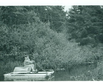 Boy on a Pedal Boat At the Lake Summer Vacation Vintage Black and White Photo Photograph