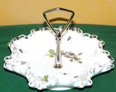 Fenton Silver Crest 8 quot Handled Candy Dish with Hand Painted Violets