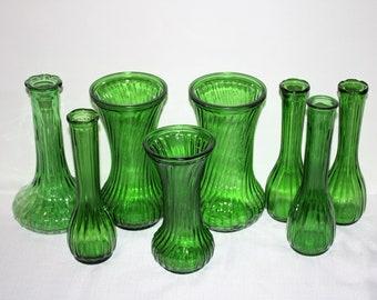 Emerald Green Vases Set of 8 Ribbed Glass Vases, Centerpiece, Bouquet Flower Vases