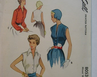 Vintage 1950 McCalls Pattern 8053 Misses Blouse, Size 14