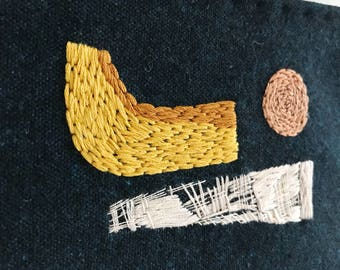 Small Wall Hanging - Hand Embroidered, Mid-Century inspired - No 001