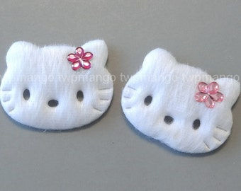 50 White Furry Felt Kitty Cat Appliques with Rhinestone Sewing Craft EA239