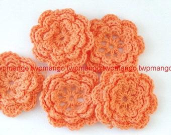 20 Handmade 1.5 inch Crochet Flower Appliques......Orange... EA246-4