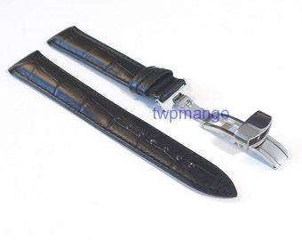 Alligator Genuine Leather Watch Band Deployant Clasp Buckle...DIY...18mm...USA...Black...K57-18
