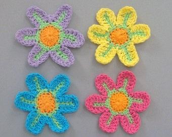 12 Large Crochet Flower Appliques EA85B