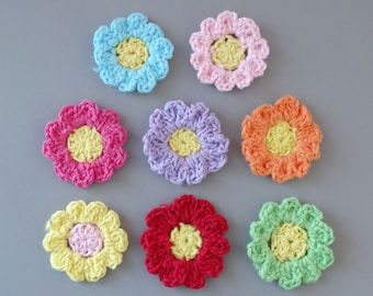 32 Handmade Crochet Flower Appliques EA86