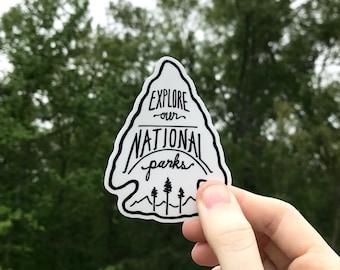 National Parks Sticker. Arrowhead Sticker. Parks Laptop Sticker. Camp Sticker. Adventure Car Decal. Explore America. Canada National Parks